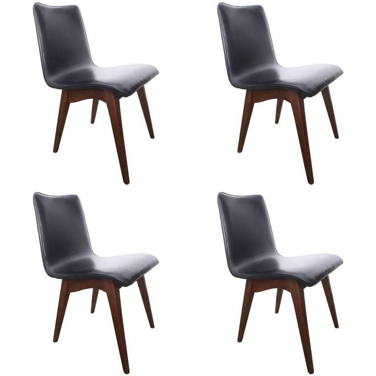 Set Of Four Sligh Lowry Mid Century Walnut And Leather Dining Chairs 1