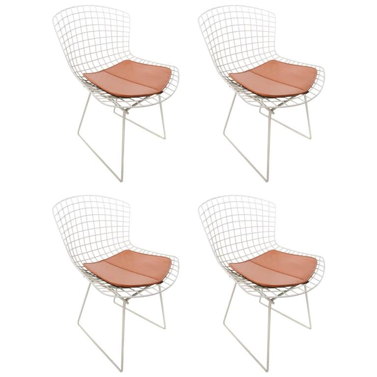 Four Bertoia Chairs With Brown Leather Knoll Cushions, USA, 1960s For Sale