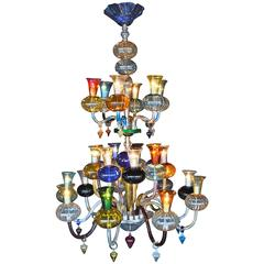 Multicolored Hand Blown Glass Chandelier