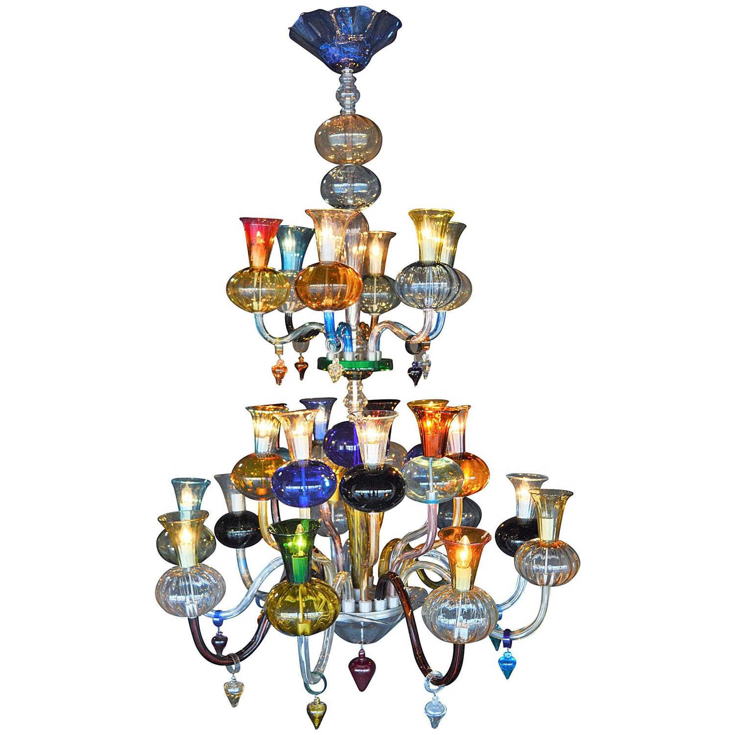 Multicolored Hand Blown Glass Chandelier For Sale at 1stdibs