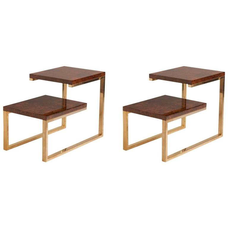 Pair of French Bronze and Lacquered Burled Wood Side Tables For Sale