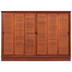 Harvey Probber Mahogany Sideboard Cabinet with Cane Doors