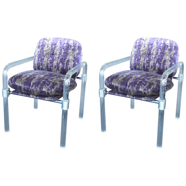 """Pair of """"Pipe Line Series ii Chairs"""" in Molded Lucite by Jeff Messerschmidt"""