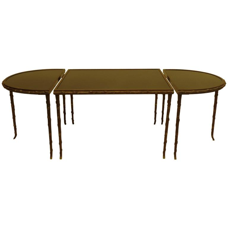 Gilt Bronze Faux Bamboo 3 Part Coffee Table by Maison Bagues 1