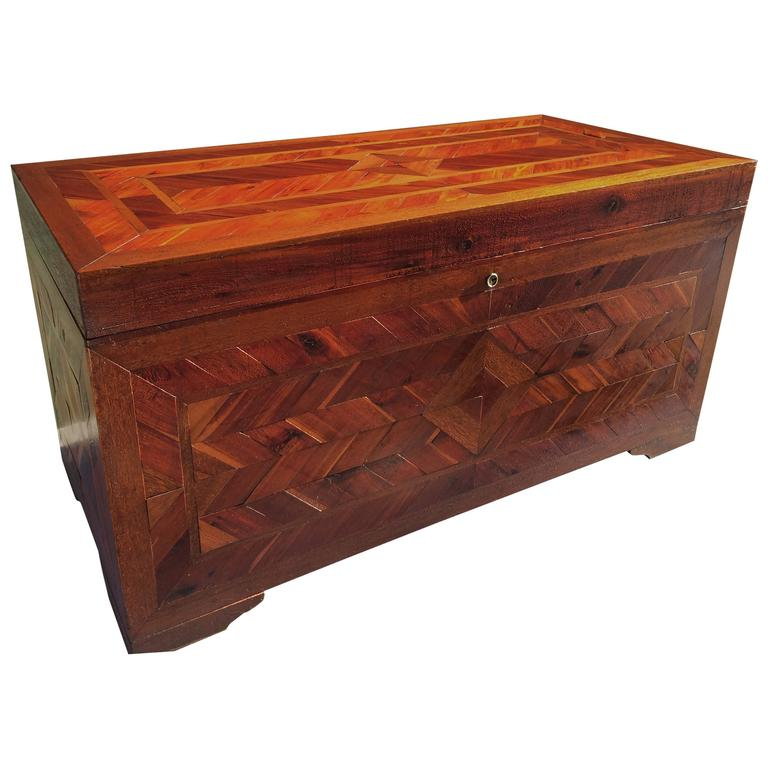 Huge Primitive Inlaid Parquetry Blanket Chest