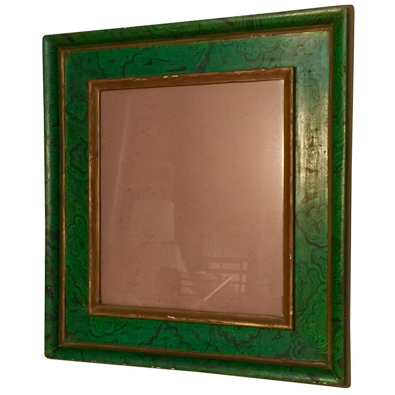 Italian Faux Malachite Mirror For Sale