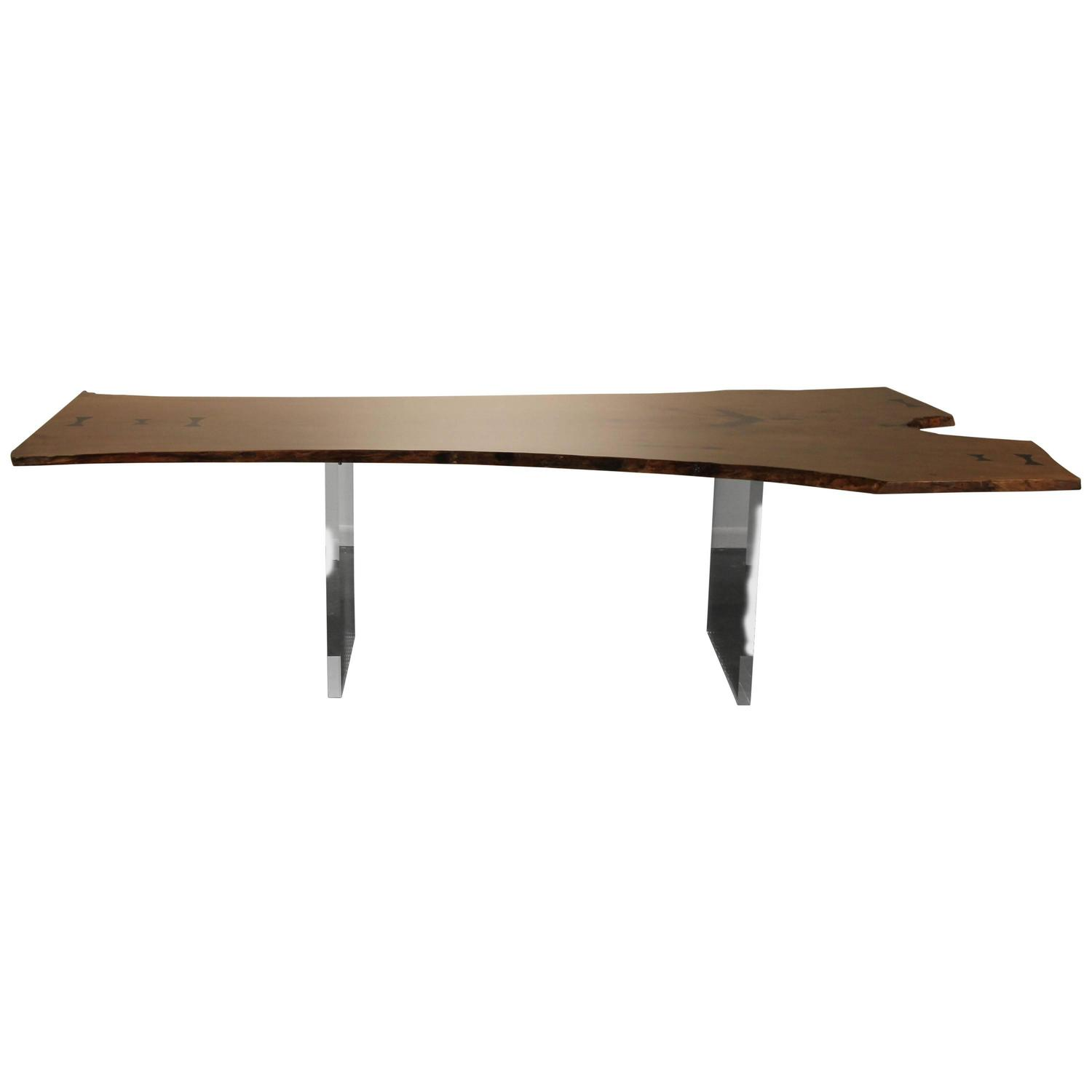 Live Edge Dining Table or Desk Floating with Lucite Legs For Sale
