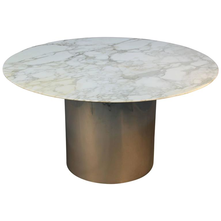 Knoll Arabeo Marble Top Knife Edge Dining Table On Chrome Drum Base For
