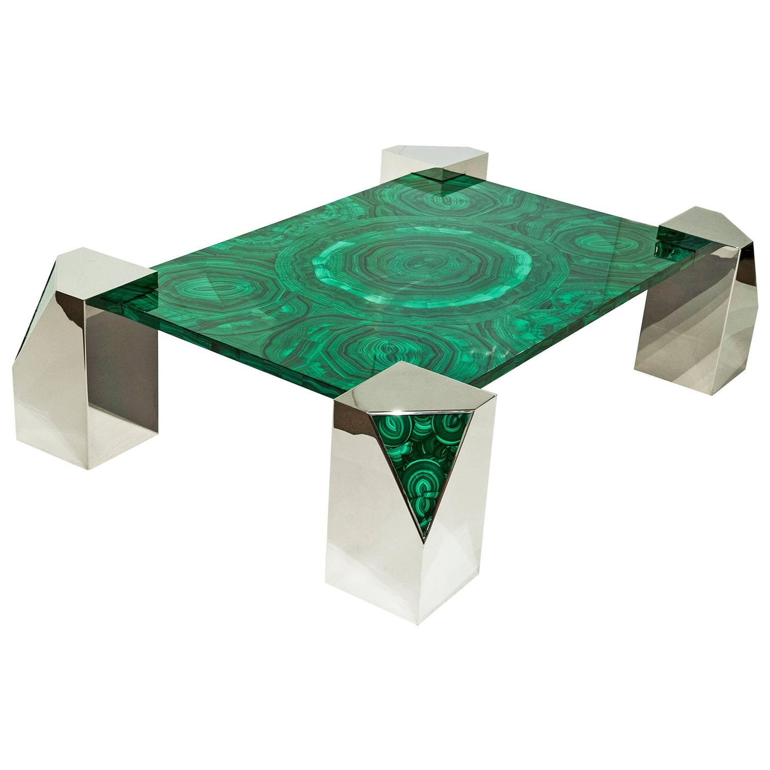 Italian Malachite And Polished Steel Coffee Table At 1stdibs