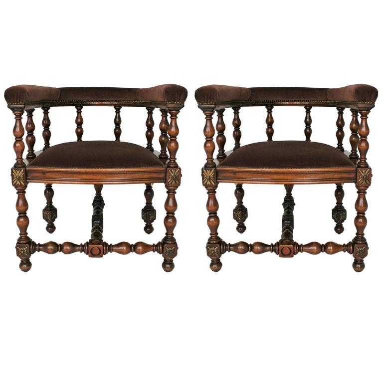 Pair of Barrel Back Jacobean Style Oak Armchairs with Chocolate Velvet Upholster For Sale