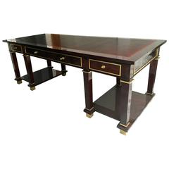 Jacques Adnet Exceptional Neoclassic Large President Desk with Leather Top
