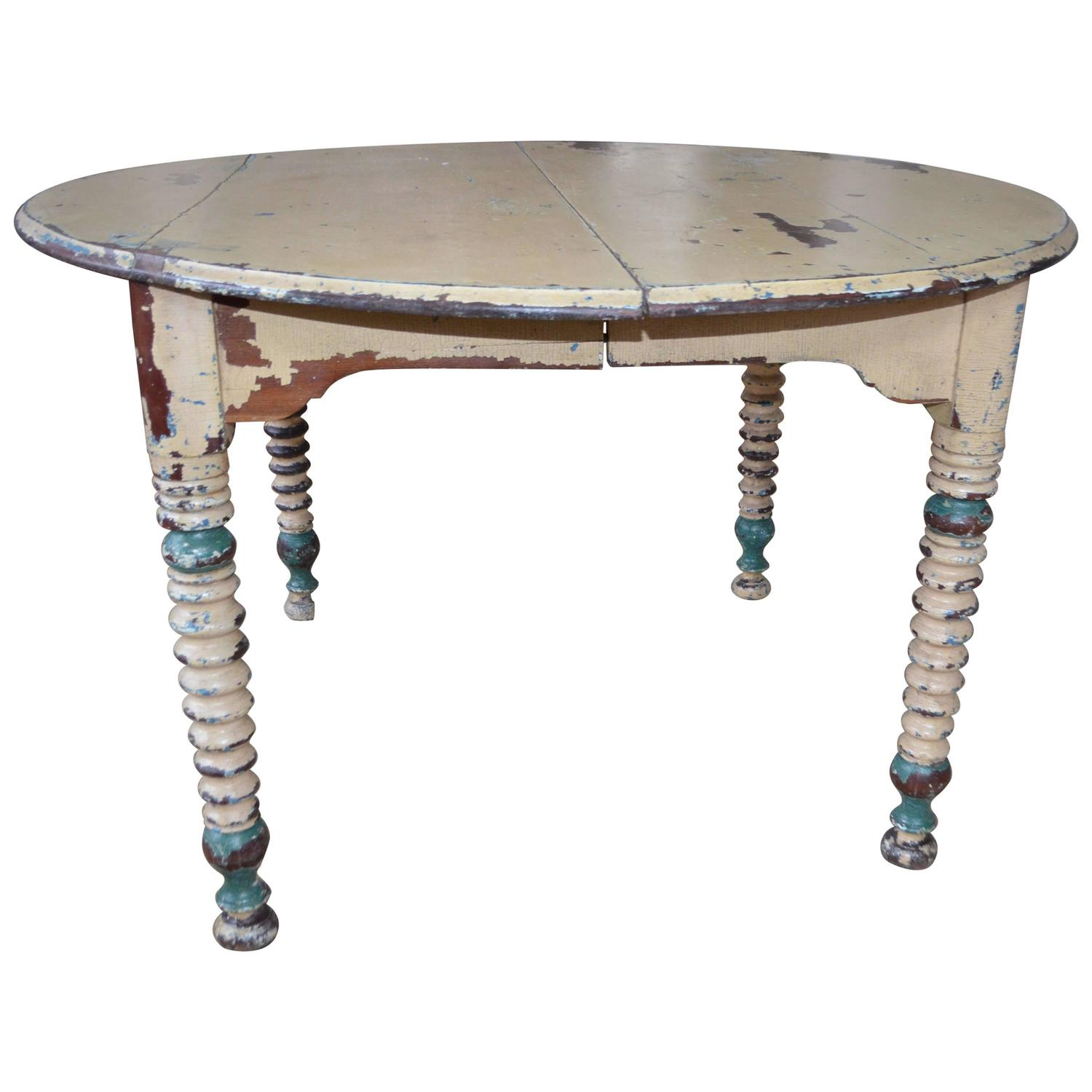 Round Farm Table Primitive Antique with Original Paint at 1stdibs