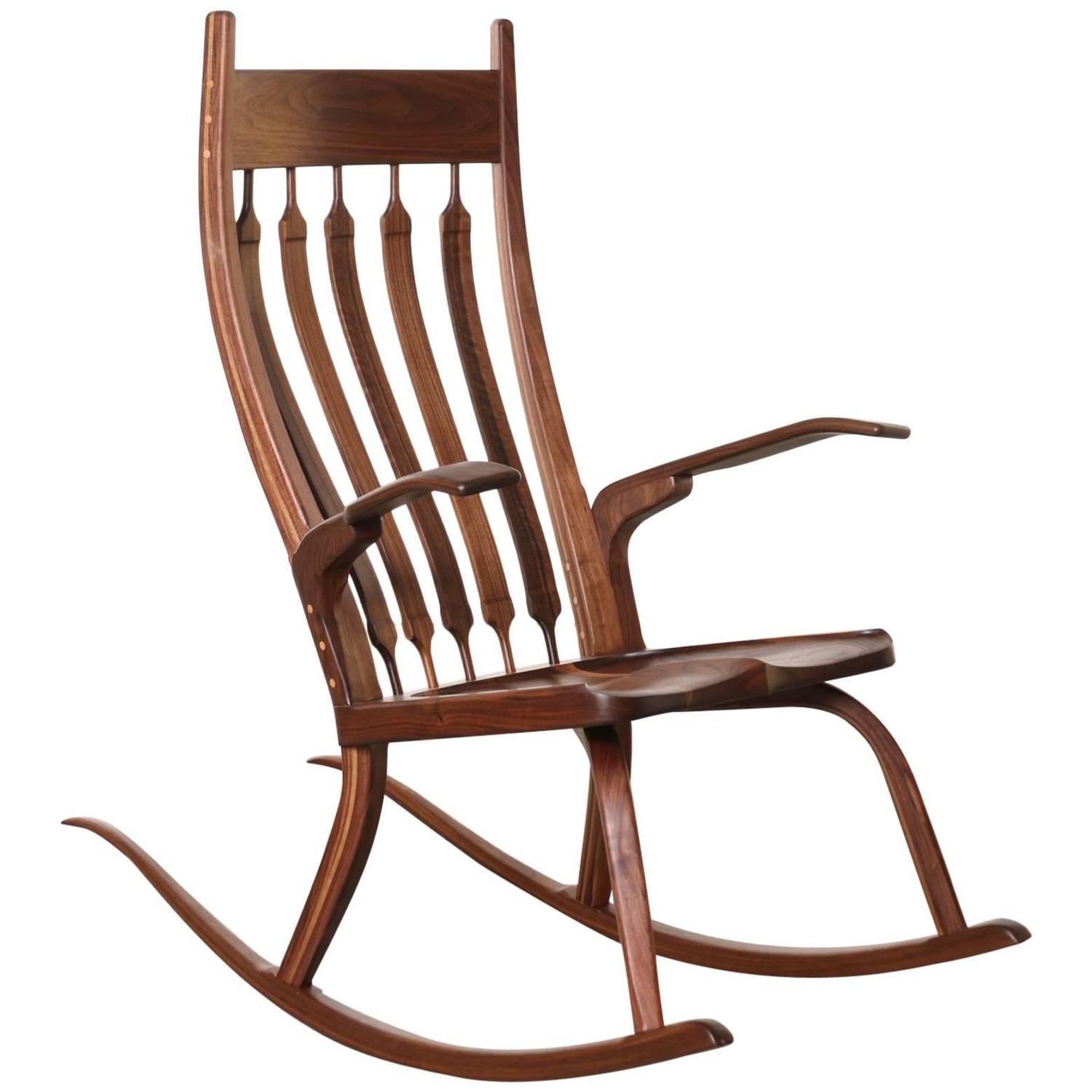 ... Craftsman Wooden Rocking Chair, Dark Walnut For Sale at 1stdibs