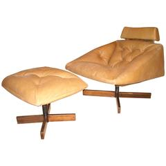 Percival Lafer Rocking, Lounge Chair and Ottoman Leather and Rosewood