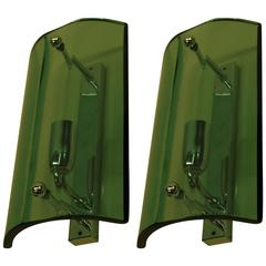 Pair of Italian Green Glass Wall Sconces in the Style of Fontana Arte