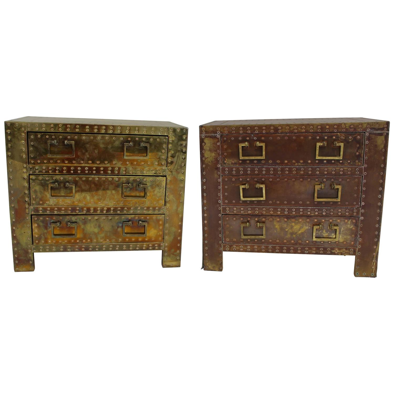 Pair of Sarreid Brass Side Tables or Small Dressers For