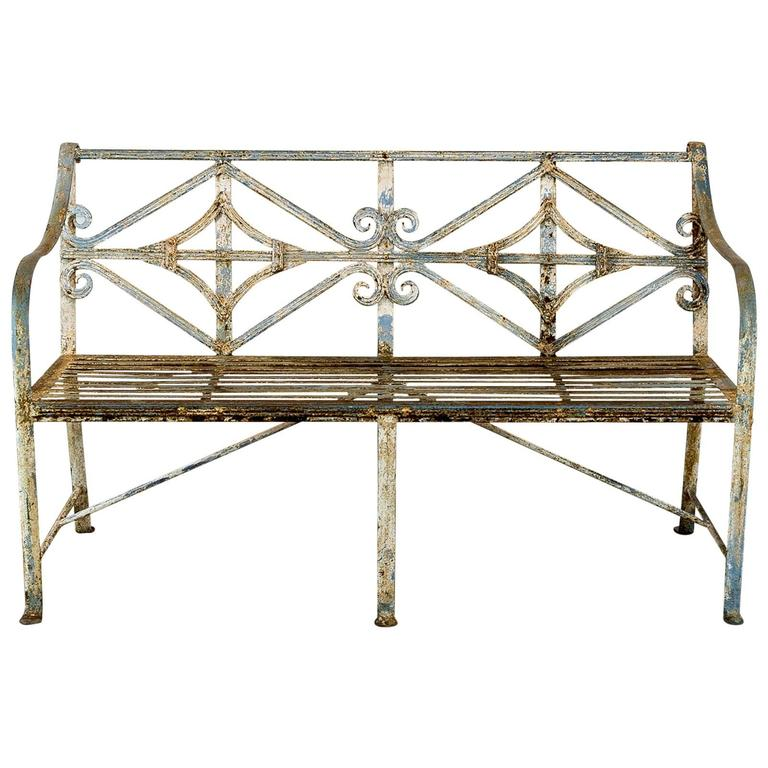 A Regency style reeded wrought iron seat, For Sale