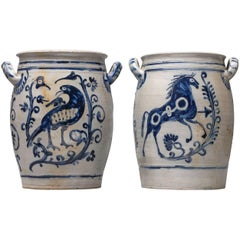 Rare 18th Century Set of Ritzdekor Westerwald Horse and Bird Crock Pots