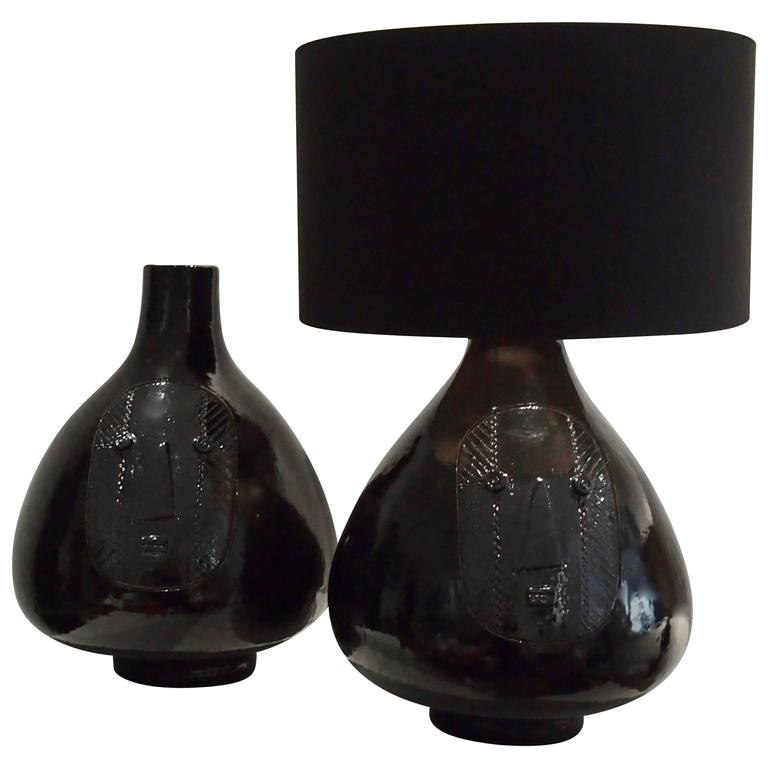 Large Pair Of Ceramic Lamp Bases Glazed In Black Signed By