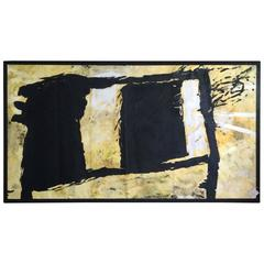 Large Strikingly Bold Abstract Painting in Black and Gold