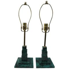 Pair of Malachite Lamps