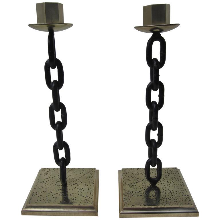 Brass and Iron Chain Candlesticks
