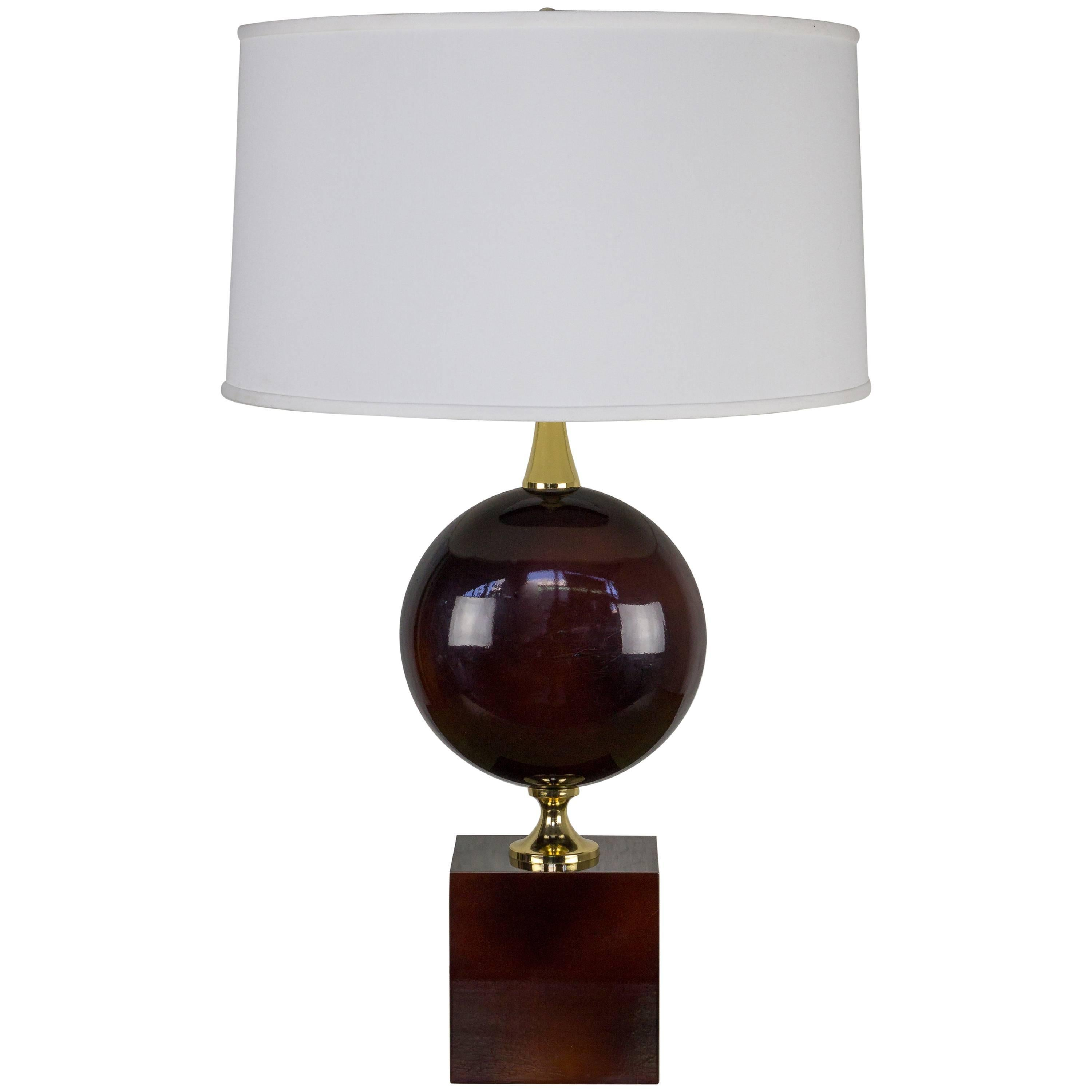 French Aubergine Enameled Table Lamp by Maison Barbier