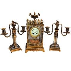 Wonderful French Three-Piece Gilt Bronze Crystal Glass Clock Set Suite Garniture