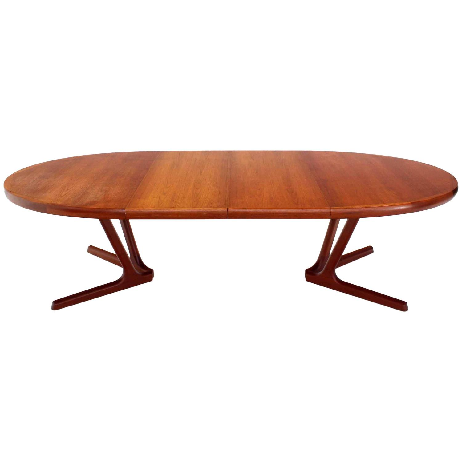 sculptural solid teak base danish modern oval dining table at 1stdibs
