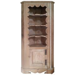 Pine Corner Cupboard with Scalloped Edges