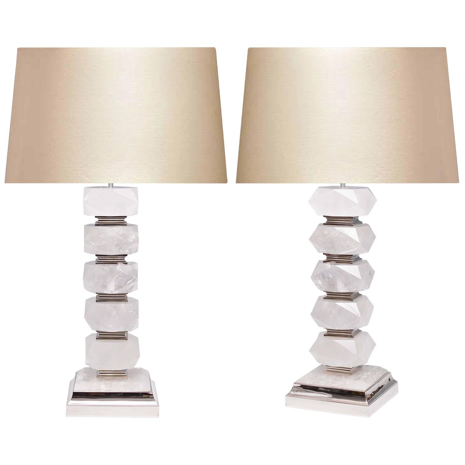 pair of contemporary block form rock crystal quartz lamps. Black Bedroom Furniture Sets. Home Design Ideas