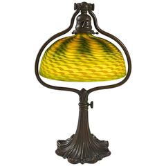 "Adjustable Glass and Bronze ""Harp"" Tiffany Lamp"