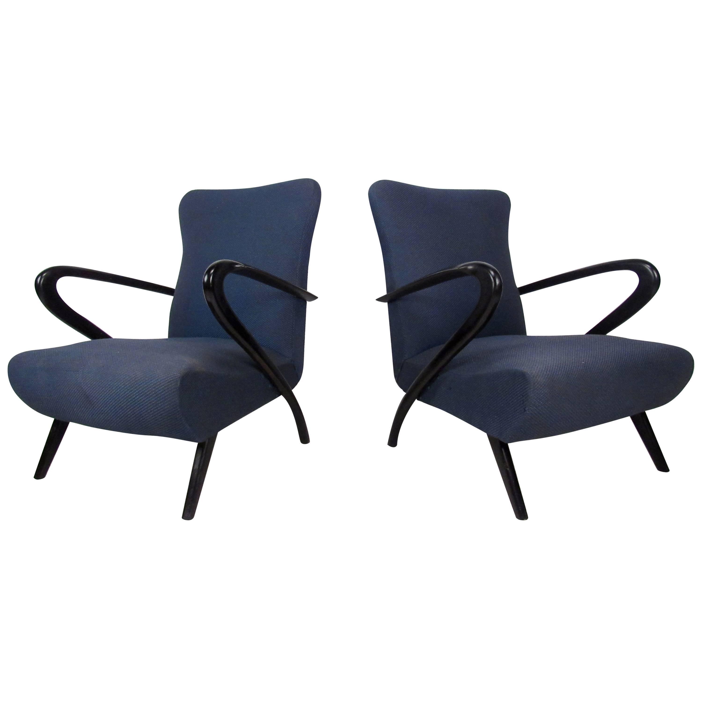 Pair Italian Modern Paolo Buffa Style Armchairs