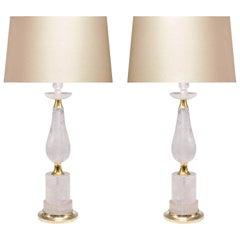 Pair of Elegant Form Rock Crystal Quartz Lamps