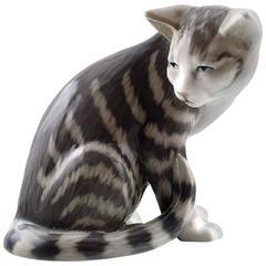 Rare Royal Copenhagen Porcelain Figure Number 301, Sitting Striped Tabby Cat