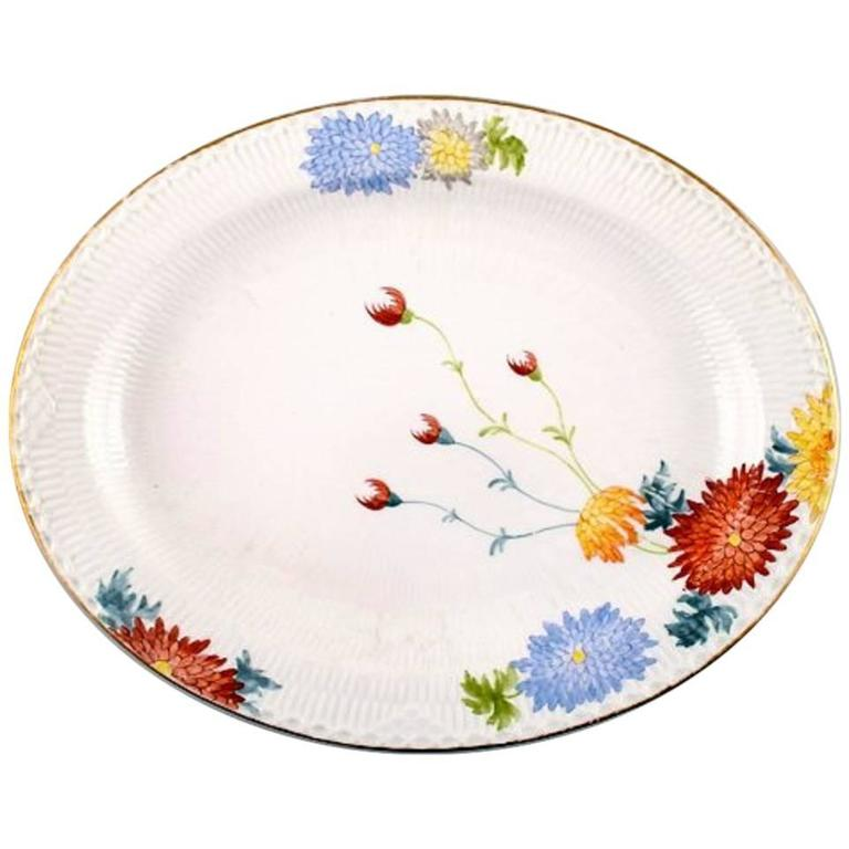 Antique and Rare Royal Copenhagen Large Dish Decorated with Flowers