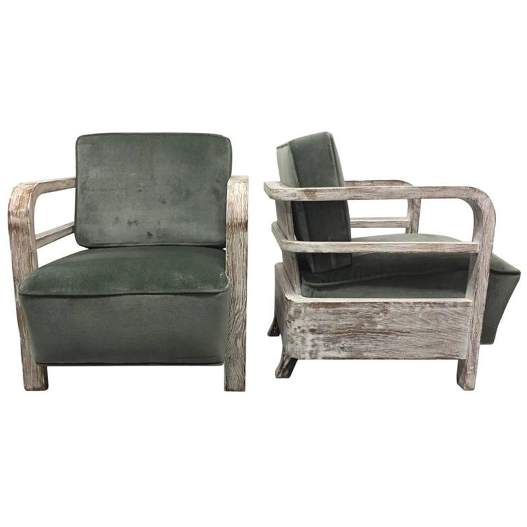 Pair French Limed Oak Lounge Chairs, style of Pierre Jeanneret