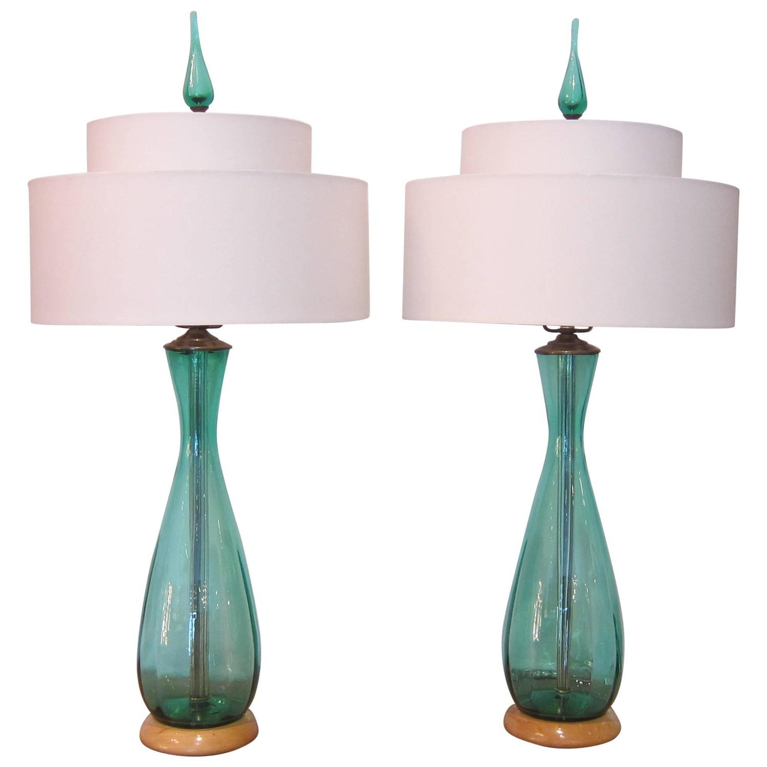 Pair of blue green glass table lamps by blenko at 1stdibs aloadofball Gallery