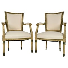 Pair of French Antique Painted Armchairs