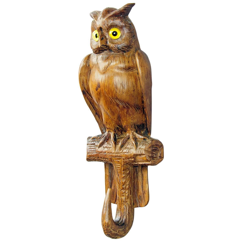 Antique black forest carved wood owl whip hook at stdibs