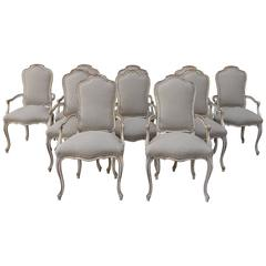 Set of Ten French Painted Dining Armchairs