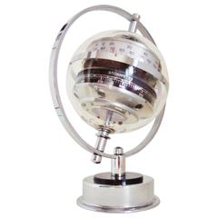 West German Space Age Chrome and Lucite Planet Desktop Weather Station by Huber