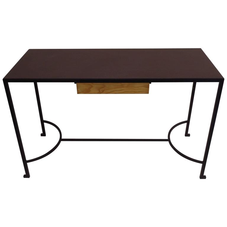 French Mid-Century Modern Iron & Leather Desk / Console Attr. Marc Duplantier