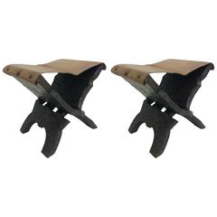 Pair of French Brutalist Carved Wood and Leather Stools or Benches