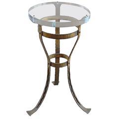 Modern Roman Bronze Wrought Iron Side Table, Paris 1950's