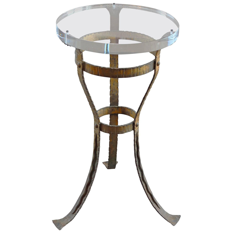 Modern roman bronze wrought iron side table paris 1950 39 s for Wrought iron side table