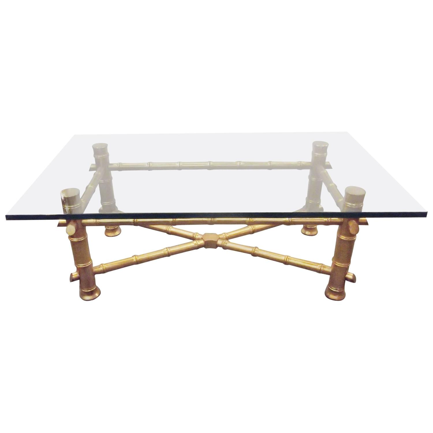Very Impressive portraiture of Gilt Wood Faux Bamboo Cocktail Table with Thick Glass Top at 1stdibs with #8E6C3D color and 1500x1500 pixels