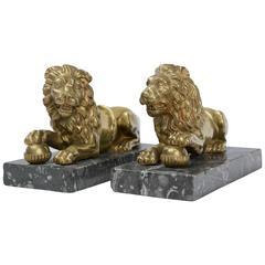 Pair of Gilt Bronze Medici Lions
