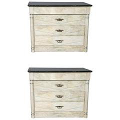 Pair of Faux Painted Chests with Marble Tops
