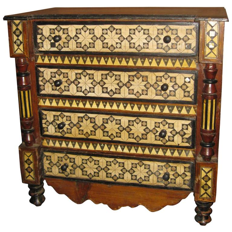 19th Century Inlaid Moroccan Miniature Chest